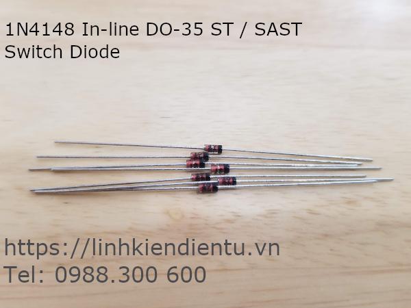 Diode xung 1N4148, chân DO-35 450mA 100V