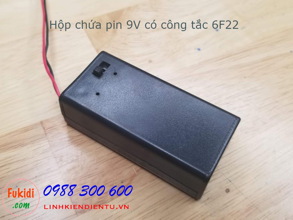 Hộp chứa pin 9V loại 6F22, có công tắc - BX9VS