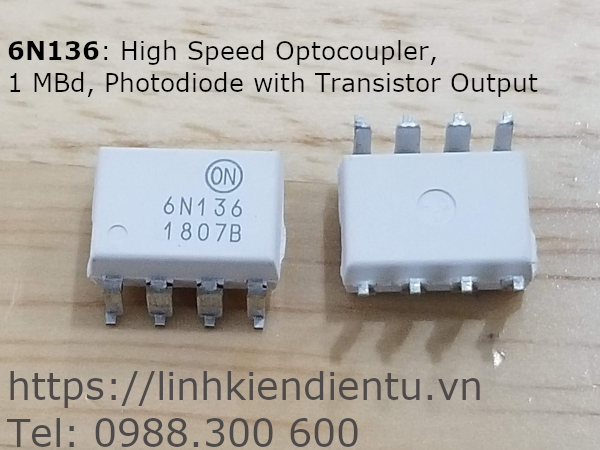 6N136 High Speed Optocoupler, 1 MBd, Photodiode with Transistor Output