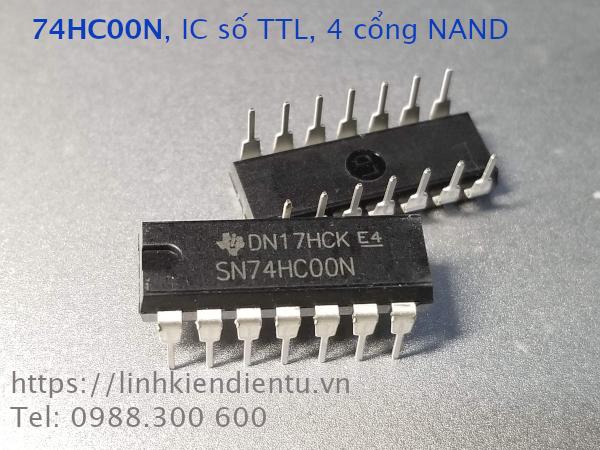 74HC00N IC số TTL, bốn cổng NAND, chân DIP-14