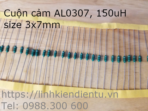 Cuộn cảm 150uH AL0307 151K 1/4W, size 3x7mm