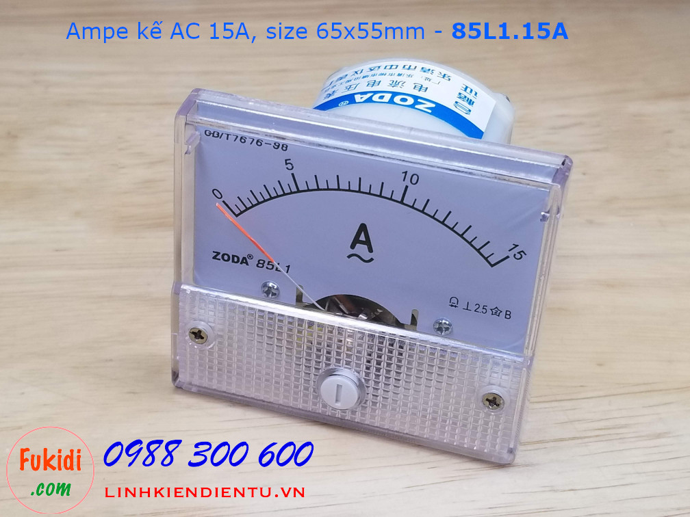 Ampe kế AC 15A - 85L1.15A, size 65x55mm