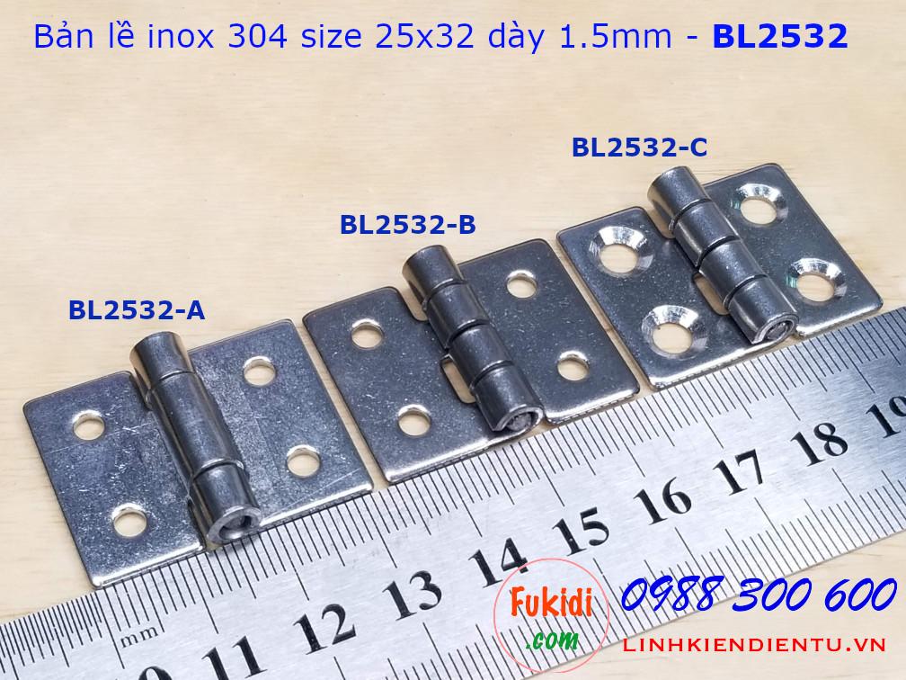 Bản lề inox 304 kích thước 25x32mm dày 1.5mm model BL2532