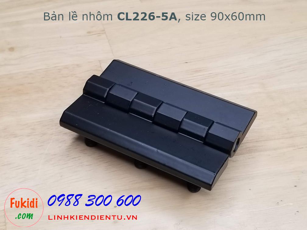 Bản lề nhôm CL226-5A size 90x60mm, dày 8mm, màu đen