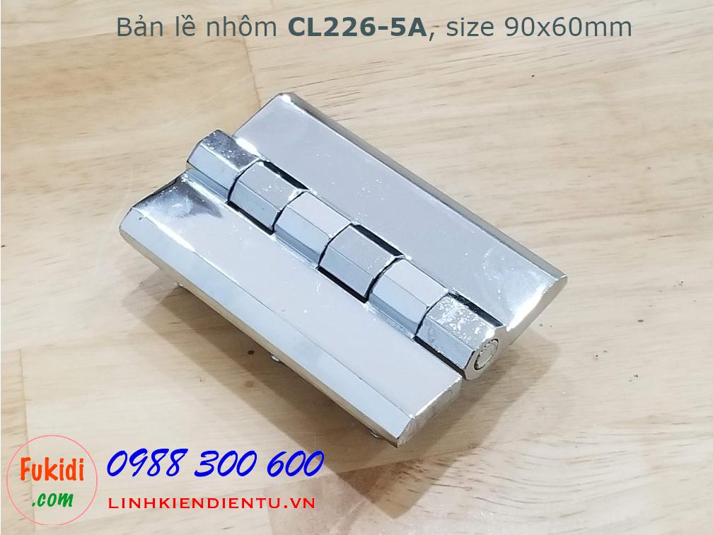 Bản lề nhôm CL226-5A size 90x60mm, dày 8mm, màu trắng