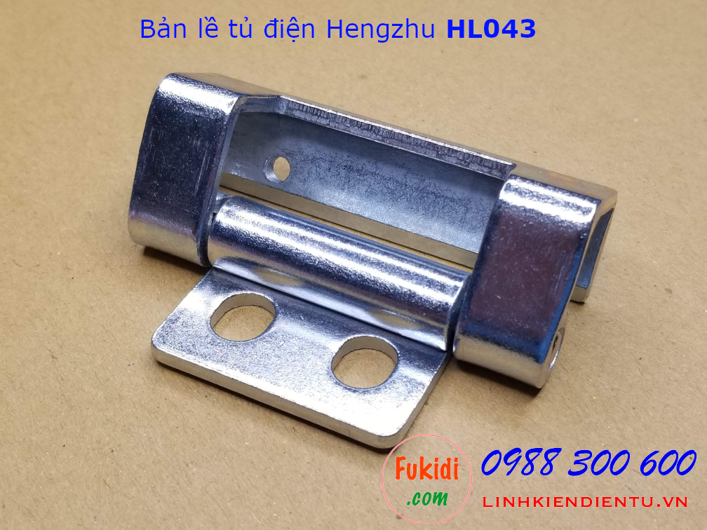Bản lề tủ điện Hengzhu HL043, chất liệu thép mạ sáng, dài 70mm