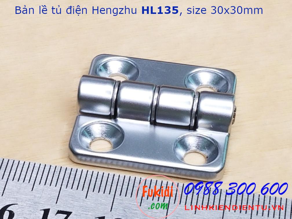 Bản lề tủ điện Hengzhu HL135, hợp kim kẽm, kich thước 30x30mm