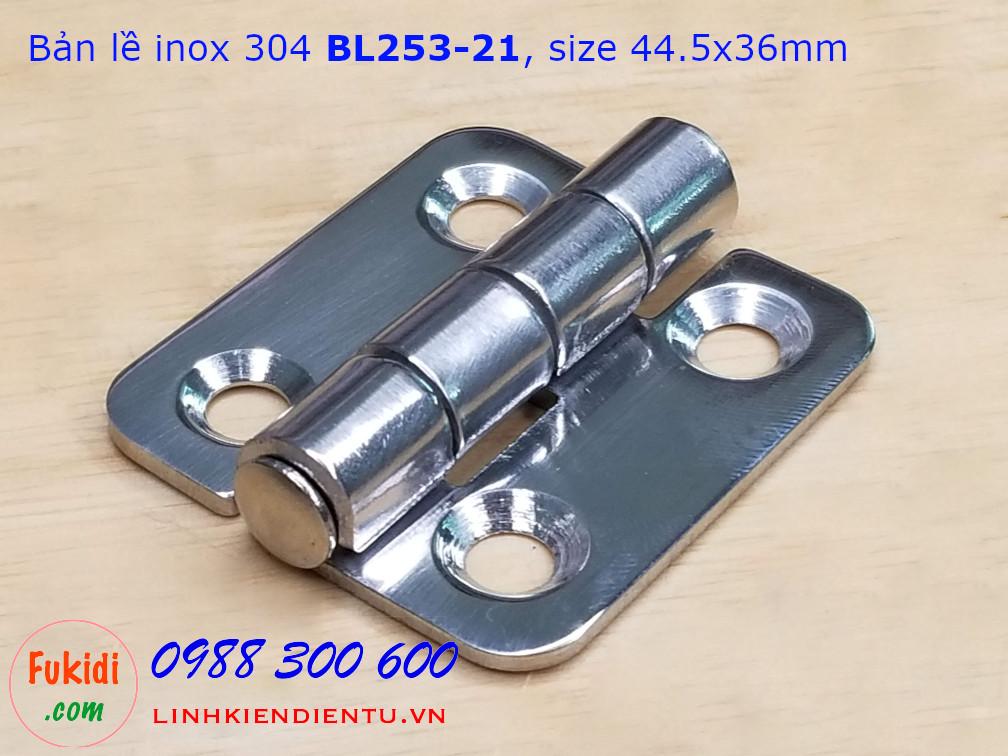 Bản lề tủ điện CL253-21, BL253-21 chất liệu inox 304, kích thước 36x44mm màu bạc