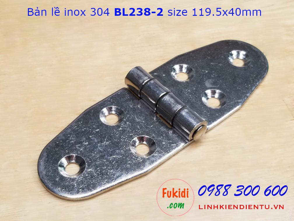 Bản lề inox 304 size 119.5x40mm dày 2.5mm - BL238-2
