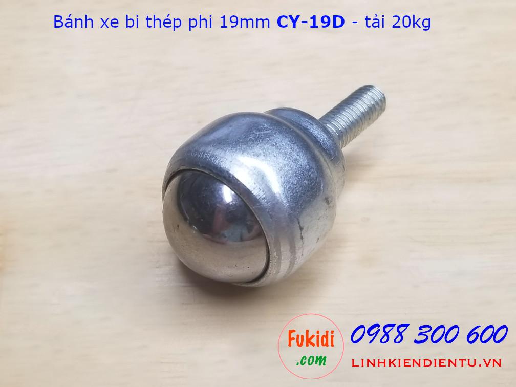 Bánh xe mắt trâu CY-19D phi 19mm chất liệu thép tải trọng 20kg - CY19DT