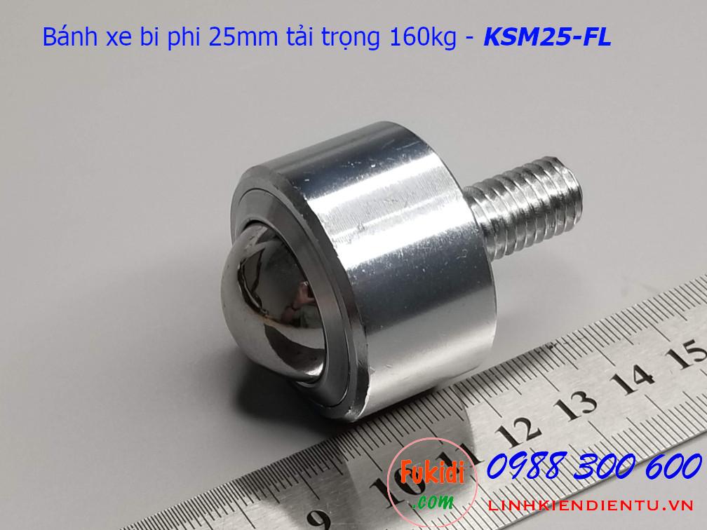 Bánh xe bi thép đa hướng phi 25mm tải trọng 160kg - KSM25-FL