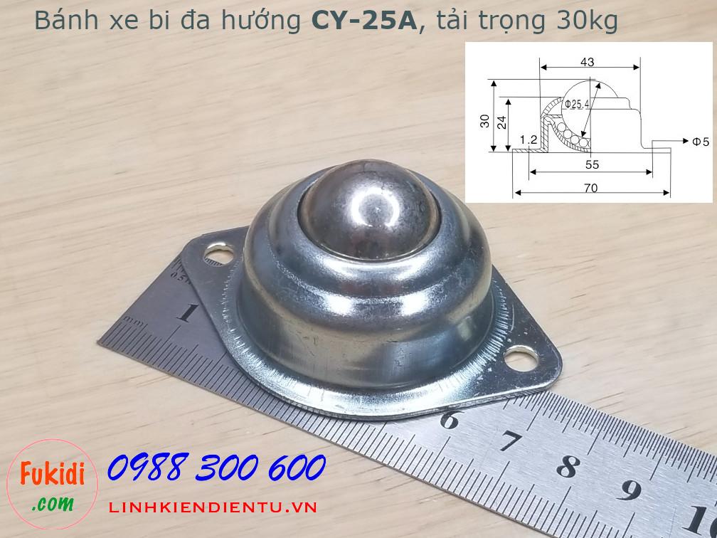Bánh xe dẫn động đa hướng bi tròn thép, CY-25A tải 30kg -CY25A
