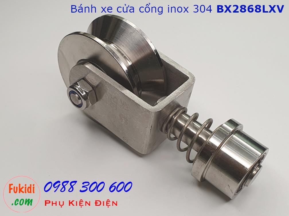 Bánh xe cửa cổng xoay 360 độ, inox 304 ray V size 28x68mm BX2868LXV