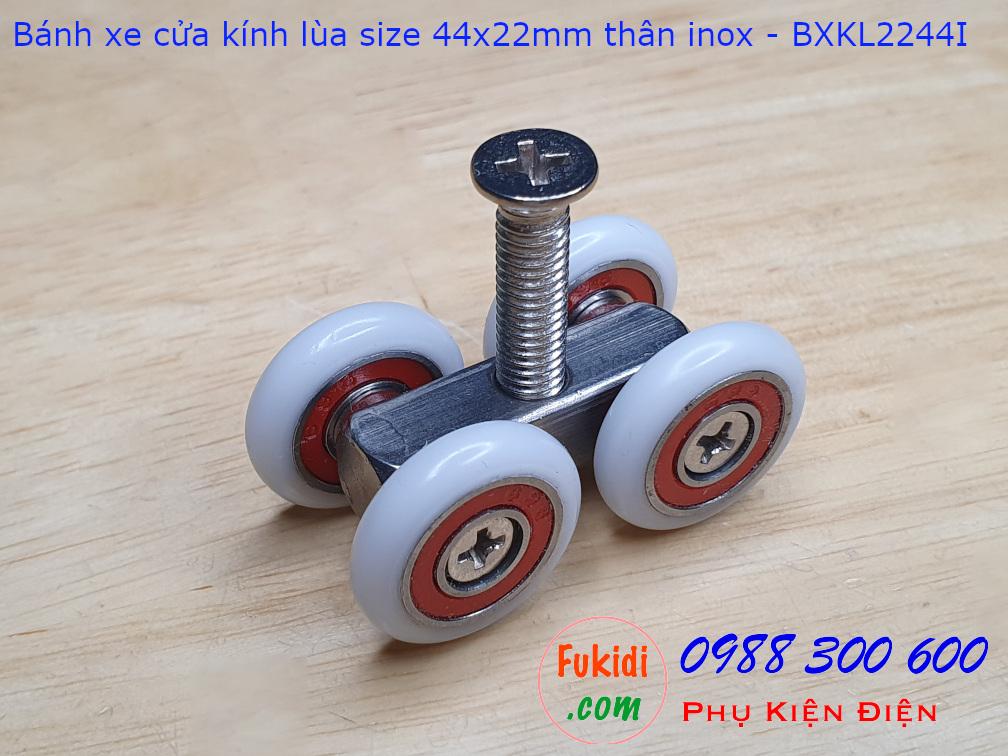 Bánh xe cửa kính lùa chất liệu inox 304 size 22x44mm - BXKL2244I