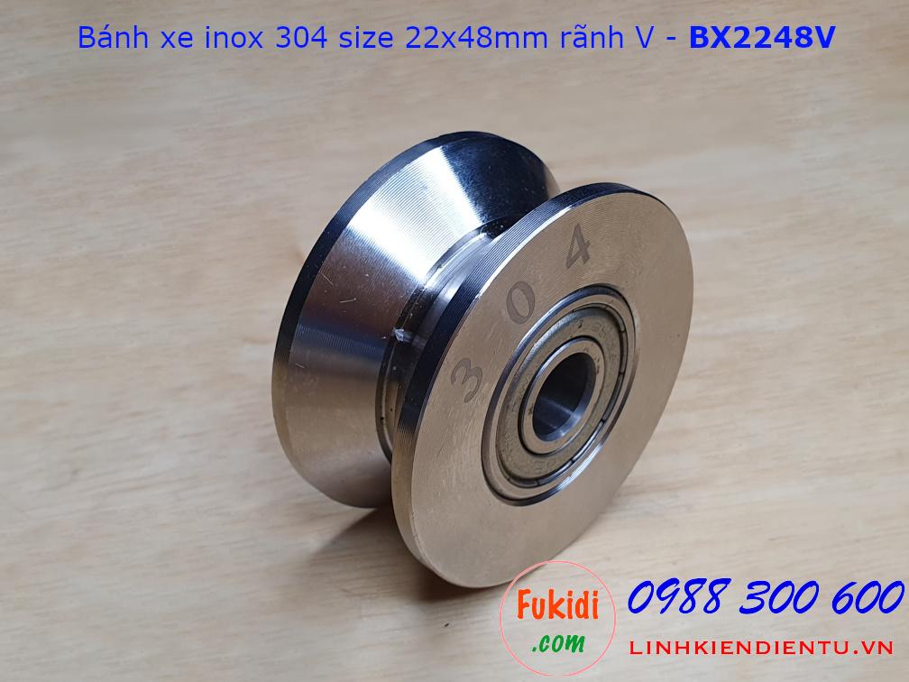 Bánh xe cổng lùa inox 304 ray V size 22x48mm BX2248V