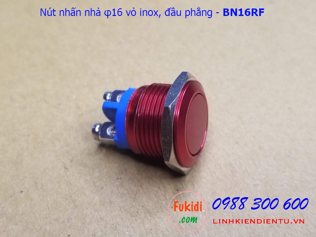 Nút nhấn nhả φ16mm vỏ inox màu đỏ đầu bằng - BN16RF