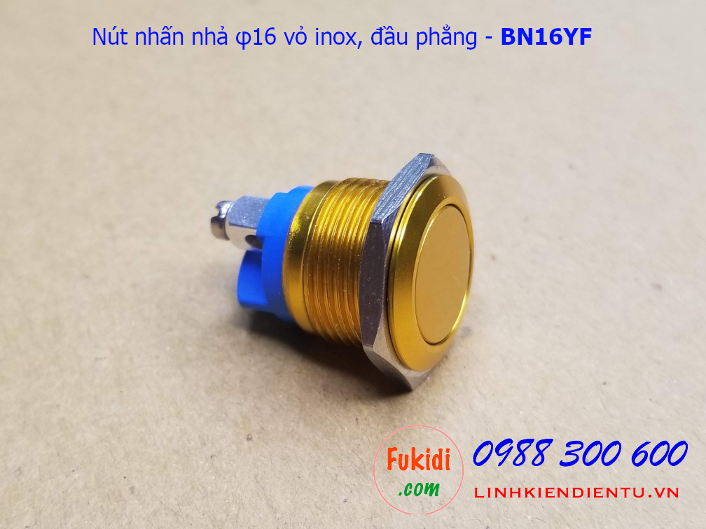 Nút nhấn nhả φ16mm vỏ inox màu vàng đầu bằng - BN16YF