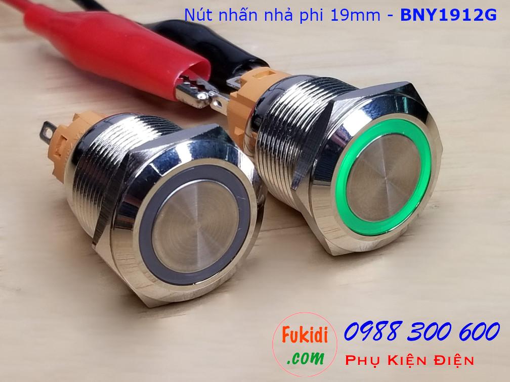Nút nhấn nhả φ19mm đui vàng có đèn tròn màu xanh lá điện áp 9-24V - BNY1912G