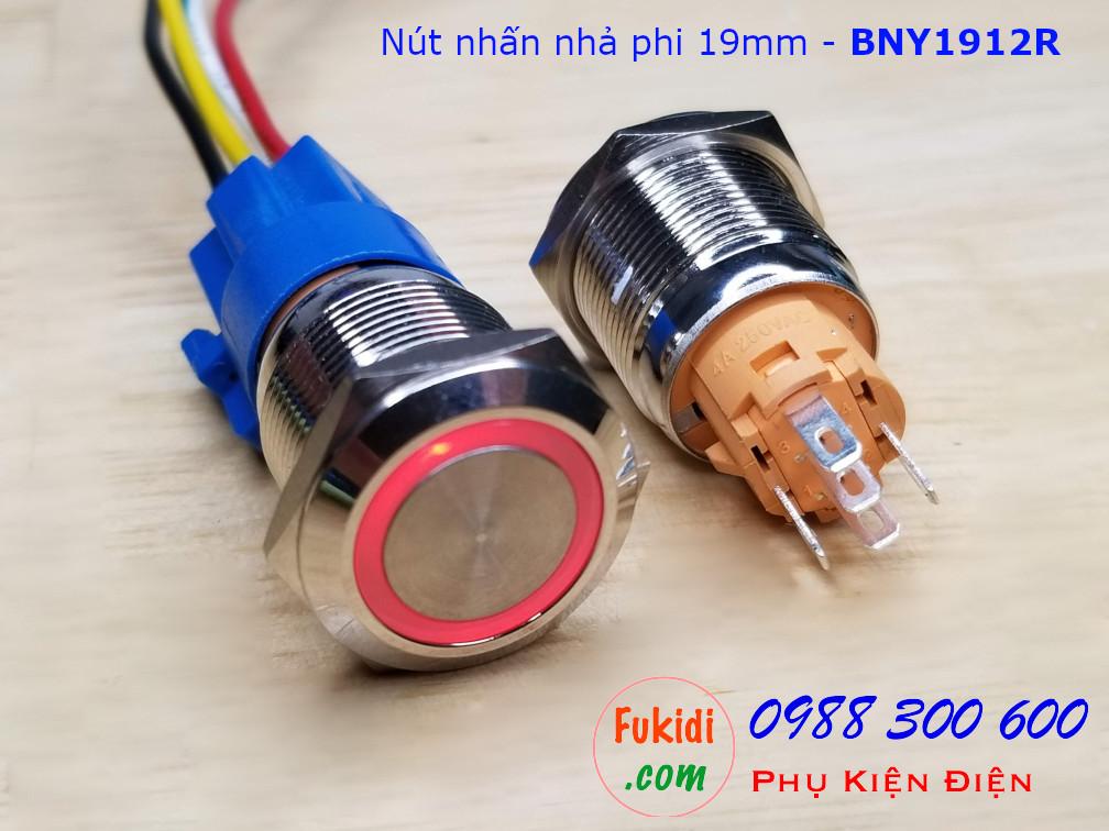 Nút nhấn giữ φ19mm đui vàng có đèn tròn sáng màu đỏ 9-24V - BNY1912LR