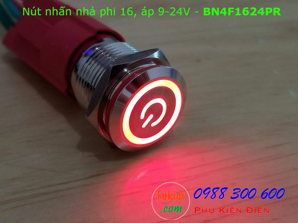 Nút nhấn nhả phi 16 bốn chân, vỏ inox có đèn nút nguồn màu đỏ, áp 9-24v - BN4F1624PR