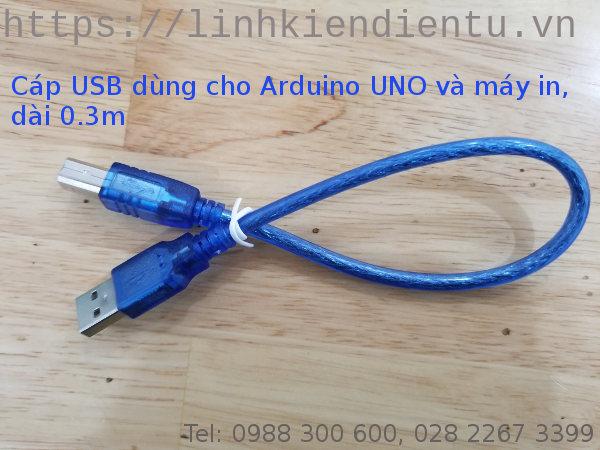 Cáp USB dùng cho Arduino UNO và máy in, dài 0.3m