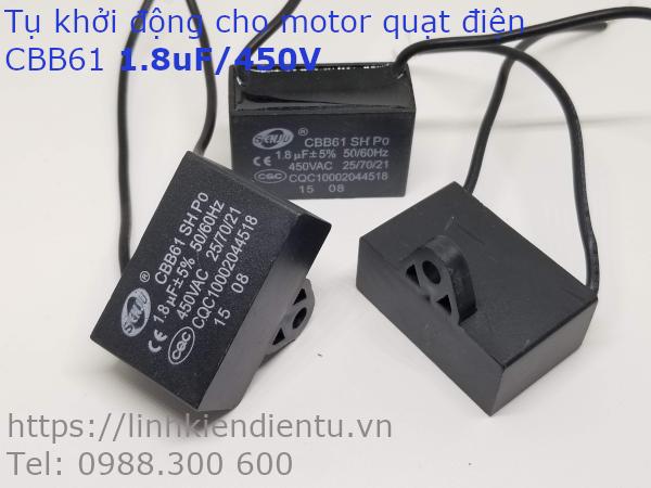 Tụ khởi động quạt điện CBB61  1.8uF/450VAC
