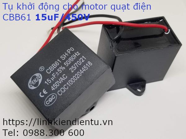 Tụ khởi động quạt điện CBB61 15uF/450VAC