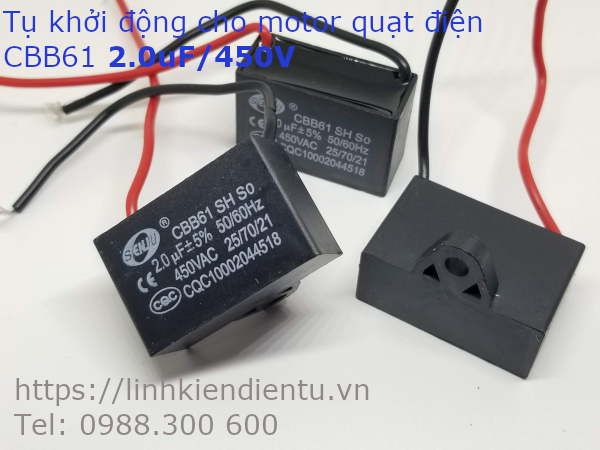 Tụ khởi động quạt điện CBB61 2.0uF/450VAC