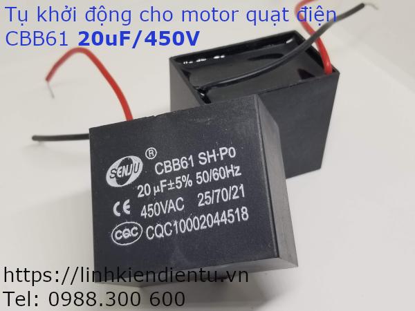 Tụ khởi động quạt điện CBB61 20uF/450VAC