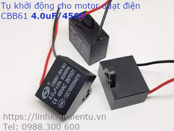 Tụ khởi động quạt điện CBB61 4.0uF/450VAC