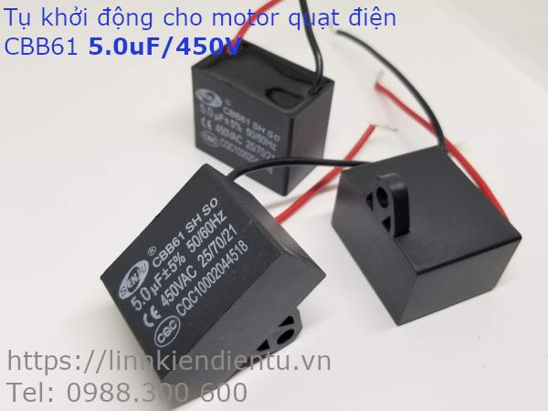 Tụ khởi động quạt điện CBB61 5.0uF/450VAC