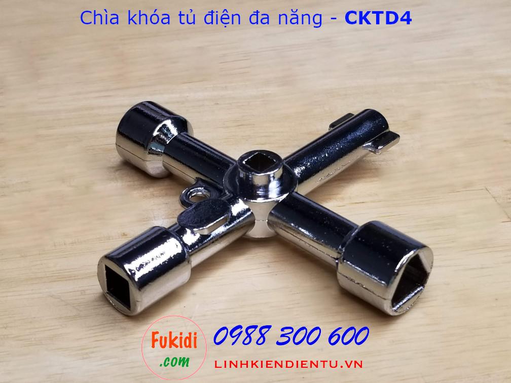 Chìa khóa tủ điện đa năng kẽm kim loại mạ crom sáng bóng - CKTD4
