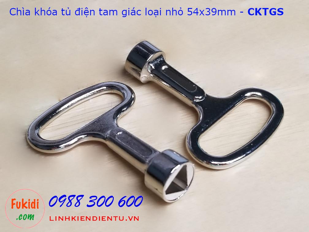 Chìa khóa tủ điện tam giác loại nhỏ 54x38mm kẽm kim loại -CKTGS