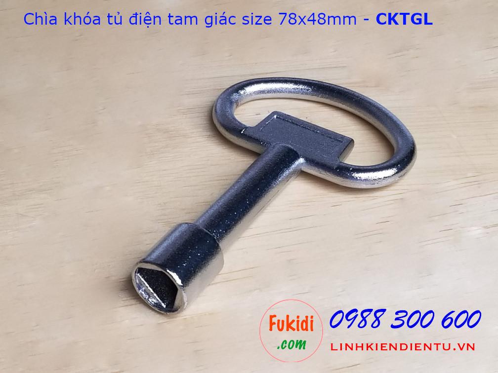 Chìa khóa tủ điện tam giác loại lớn size 78x48mm, chất liệu kẽm kim loại - CKTGL