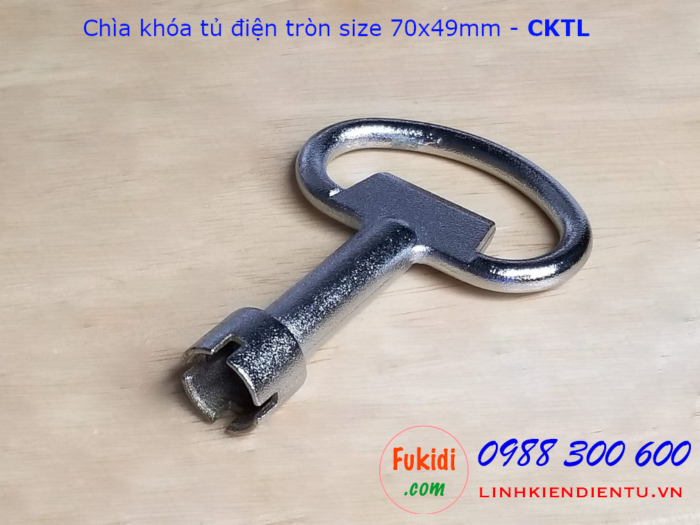 Chìa khóa tủ điện tròn loại lớn size 70x49mm, chất liệu kẽm kim loại - CKTL