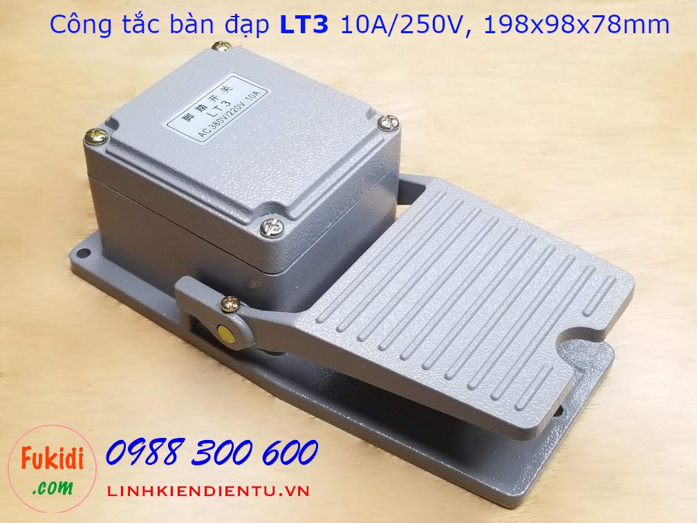 Công tắc bàn đạp LT3 10A/250VAC size 198x98x78mm, vỏ nhôm nguyên khối