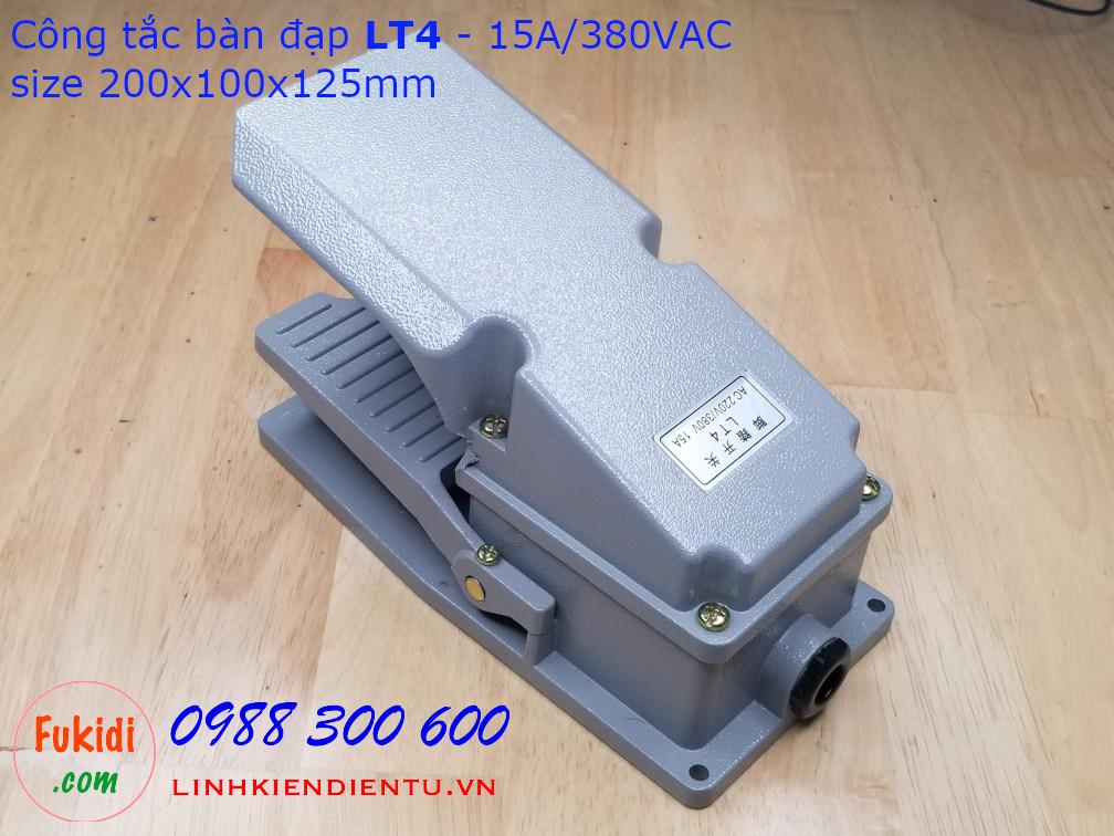 Công tắc bàn đạp LT4, thân vỏ nhôm đúc nguyên khối, công suất 15A/380VAC