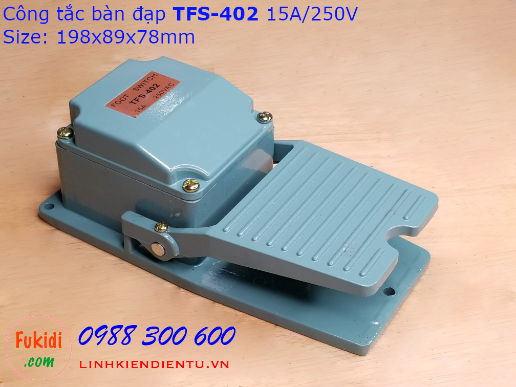 Công tắc bàn đạp TFS-402 15A/250V, vỏ nhôm, kích thước 198x98x78mm màu xanh