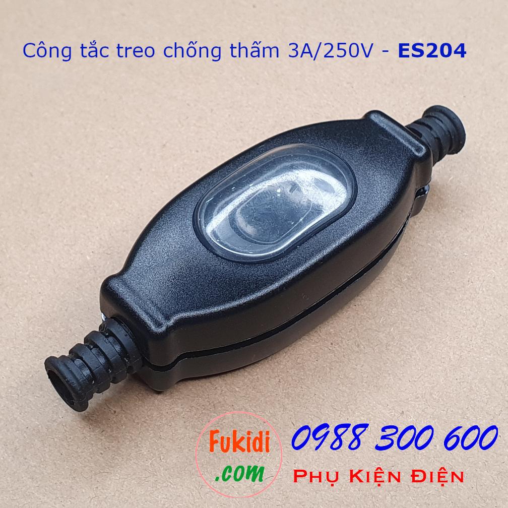 Công tắc treo dây 3A250V chống nước IP65 dạng công tắc bập bênh, màu đen ES204