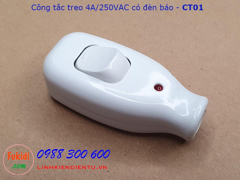 Công tắc treo dây, công tắc quả nhót có đèn báo 4A/250VAC - CT01