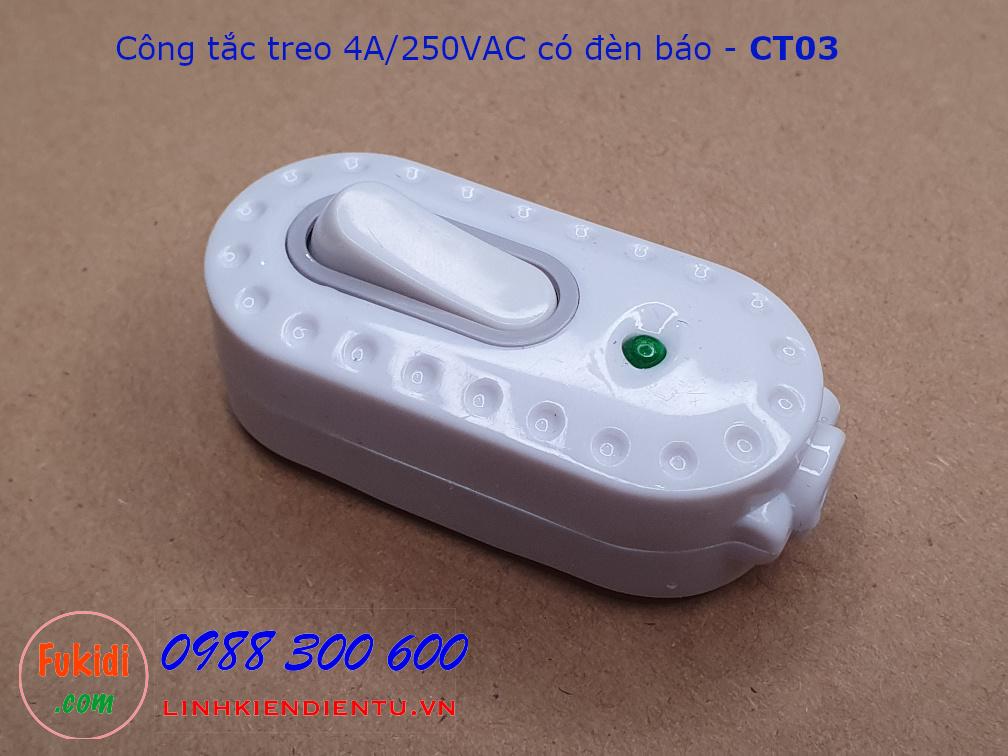 Công tắc treo dây, công tắc quả nhót có đèn báo 4A/250VAC - CT02