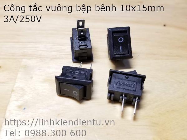 Công tắc vuông (bập bênh) 3A/250V 10x15mm