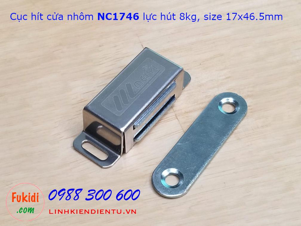 Cục hít cửa tủ, nam châm hít cửa NC1746, lực hút 8kg, vỏ inox, kích thước 17x46.5mm