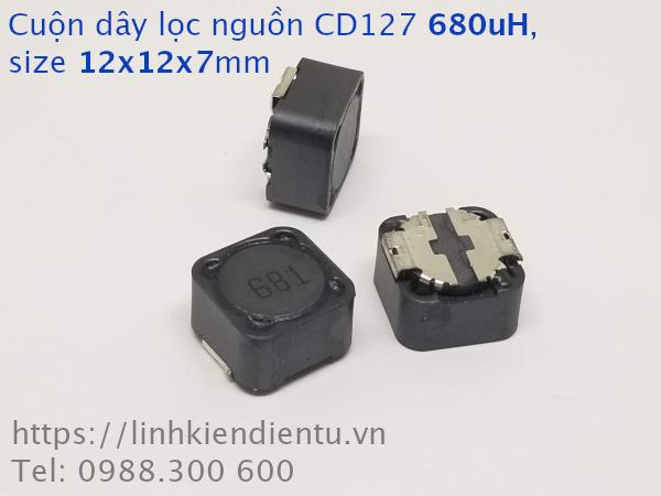 Cuộn cảm lọc nguồn 680uH 12x12x7mm có shield