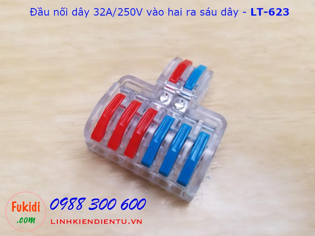 Đầu nối hai dây sang sáu dây LT-623 32A/250VAC, dùng dây 0.08-4mm2