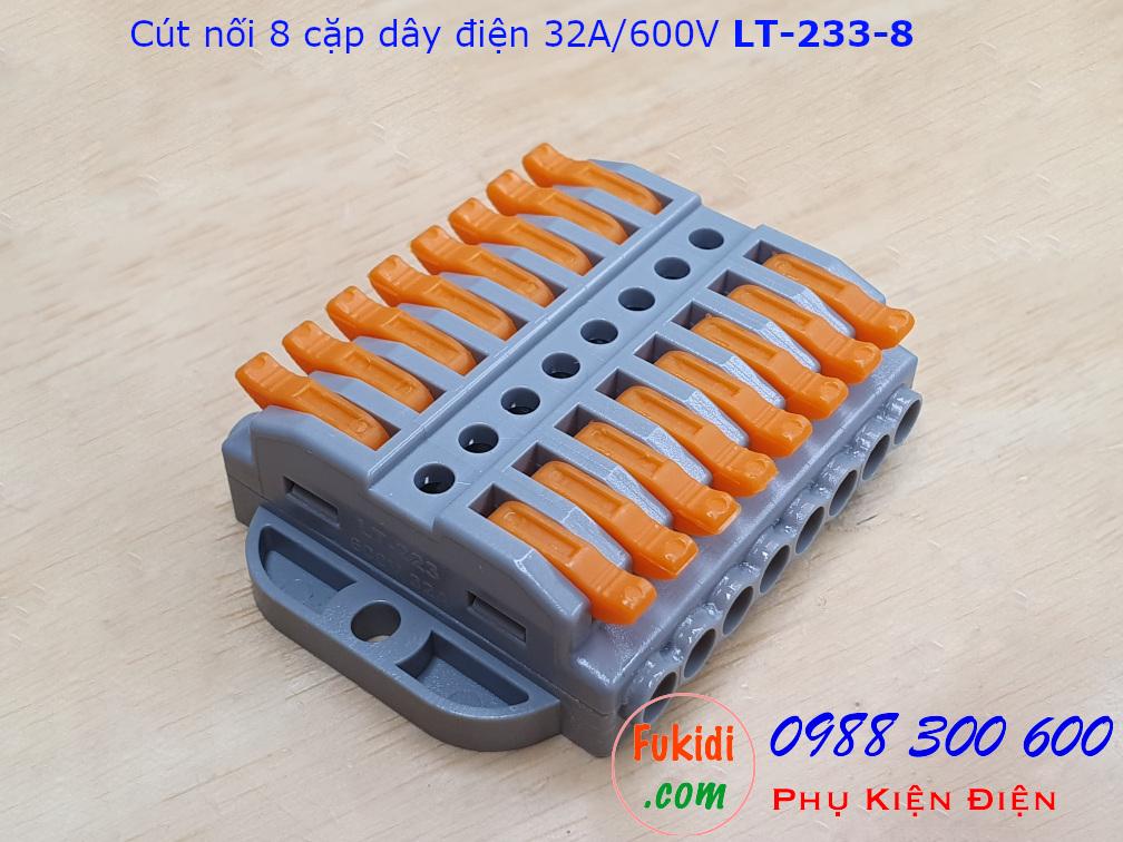 Cút nối dây LT-223-8 nối 8 cặp dây 0.08-4mm2, công suất 32A/600V
