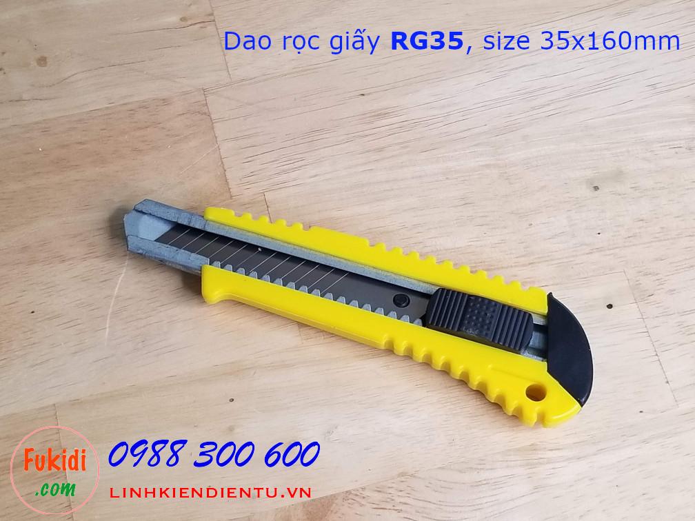 Dao rọc giấy thân nhựa, kích thước 35x160mm model RG35