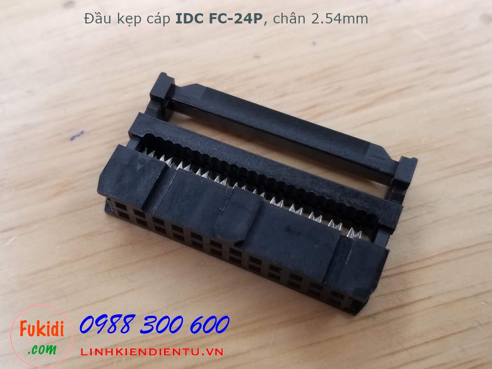 Đầu kẹp cáp bẹ IDC FC-24P bố trí chân 2x12P, khoảng cách chân 2.54mm màu đen