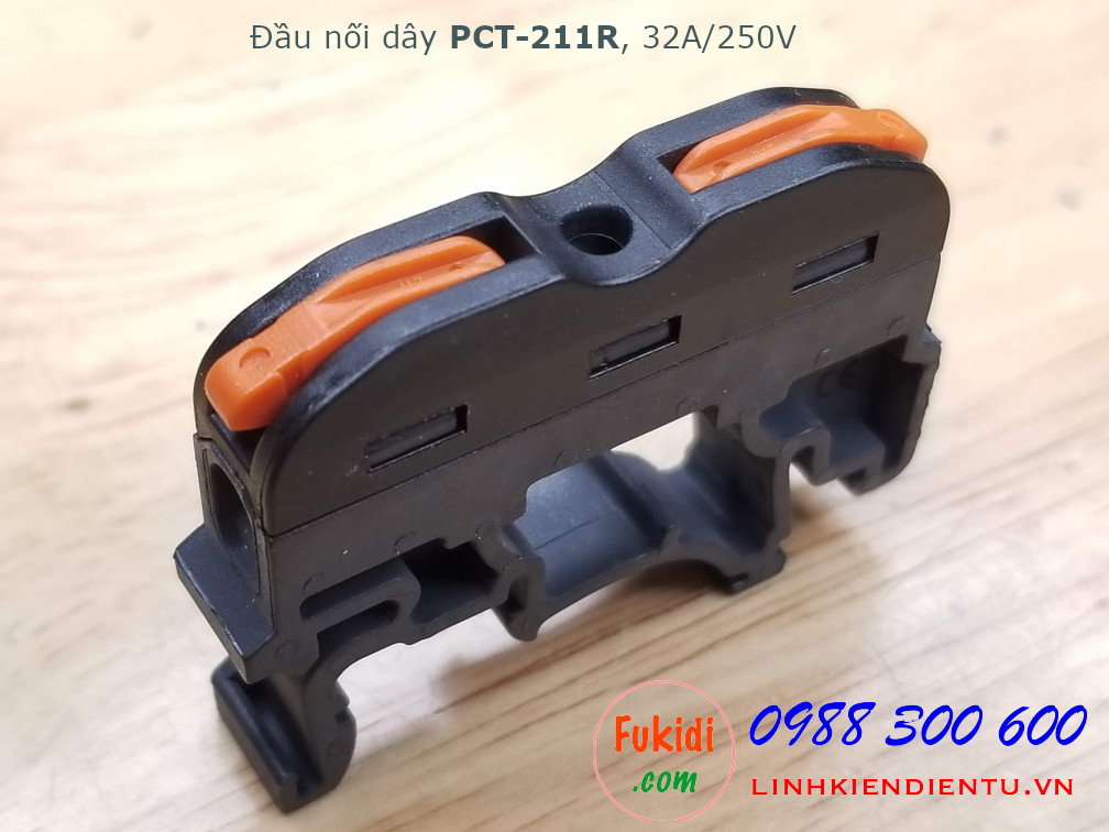 Đầu nối dây gắn ray PCT-221R dùng để nối hai dây điện với nhau