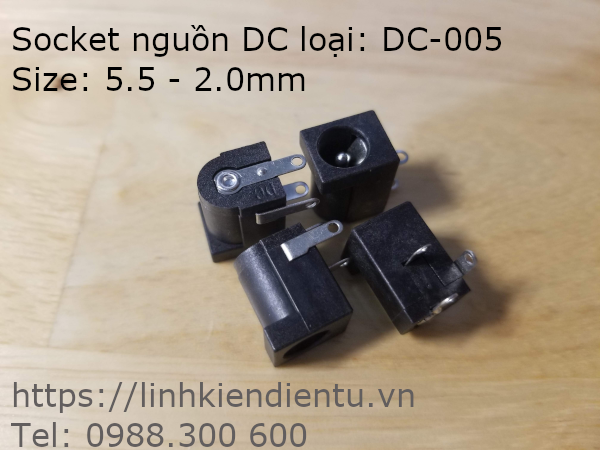 Socket DC (Jact DC): DC-005, 5.5-2.1mm